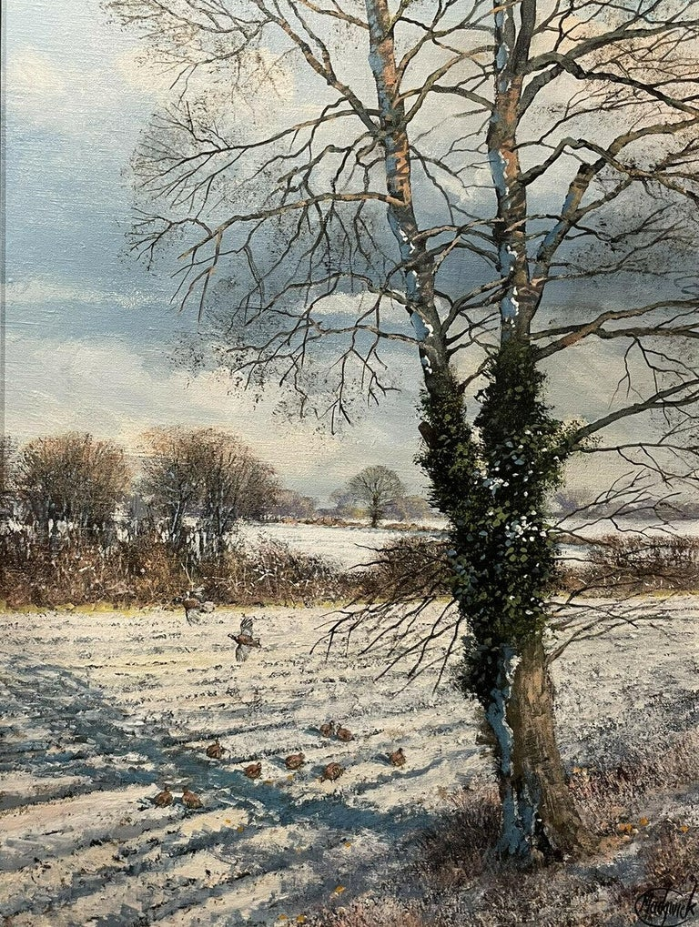 CLIVE MADGWICK (1934-2005) SIGNED OIL - PARTRIDGES IN WINTER SNOW LANDSCAPE - Painting by Clive Madgwick