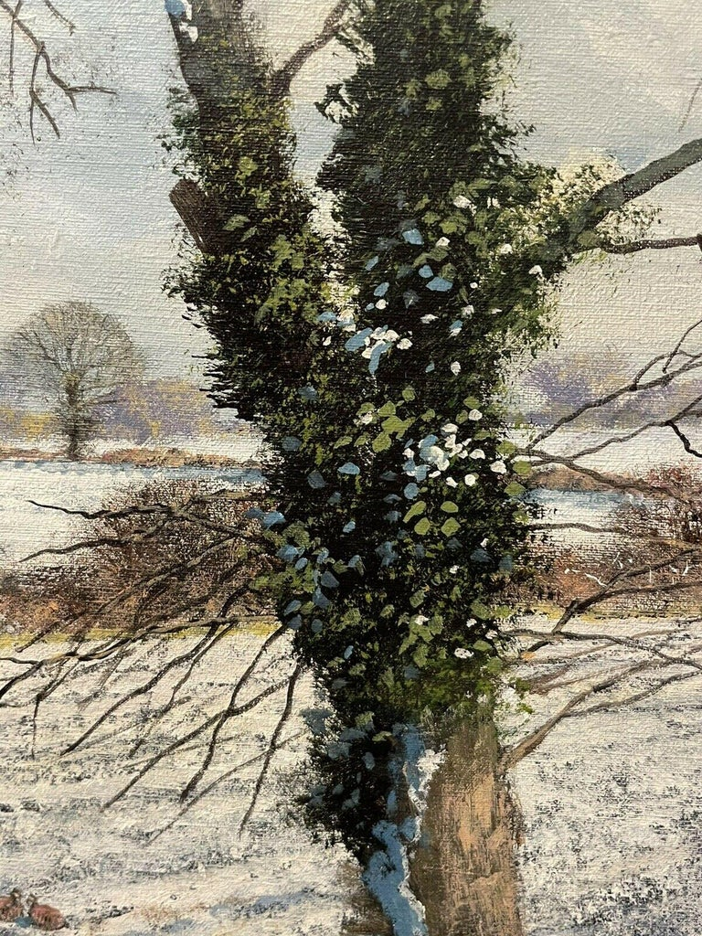 CLIVE MADGWICK (1934-2005) SIGNED OIL - PARTRIDGES IN WINTER SNOW LANDSCAPE - Impressionist Painting by Clive Madgwick