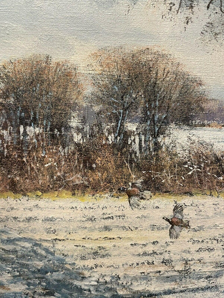 CLIVE MADGWICK (1934-2005) SIGNED OIL - PARTRIDGES IN WINTER SNOW LANDSCAPE - Brown Interior Painting by Clive Madgwick