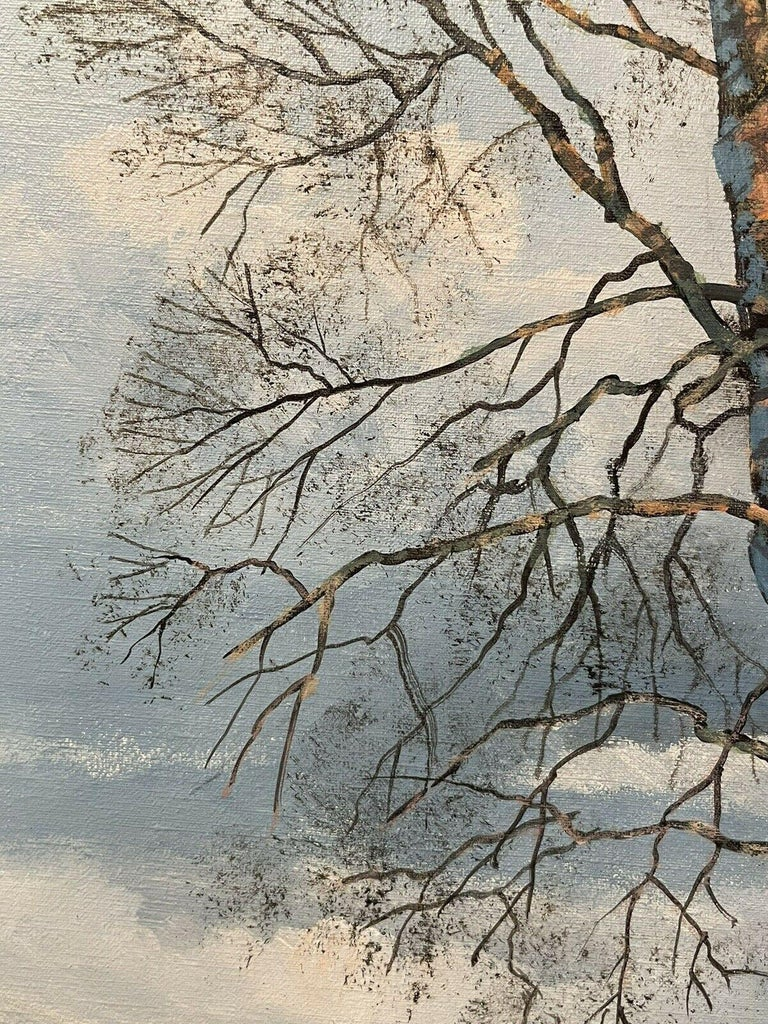 CLIVE MADGWICK (1934-2005) SIGNED OIL - PARTRIDGES IN WINTER SNOW LANDSCAPE For Sale 3