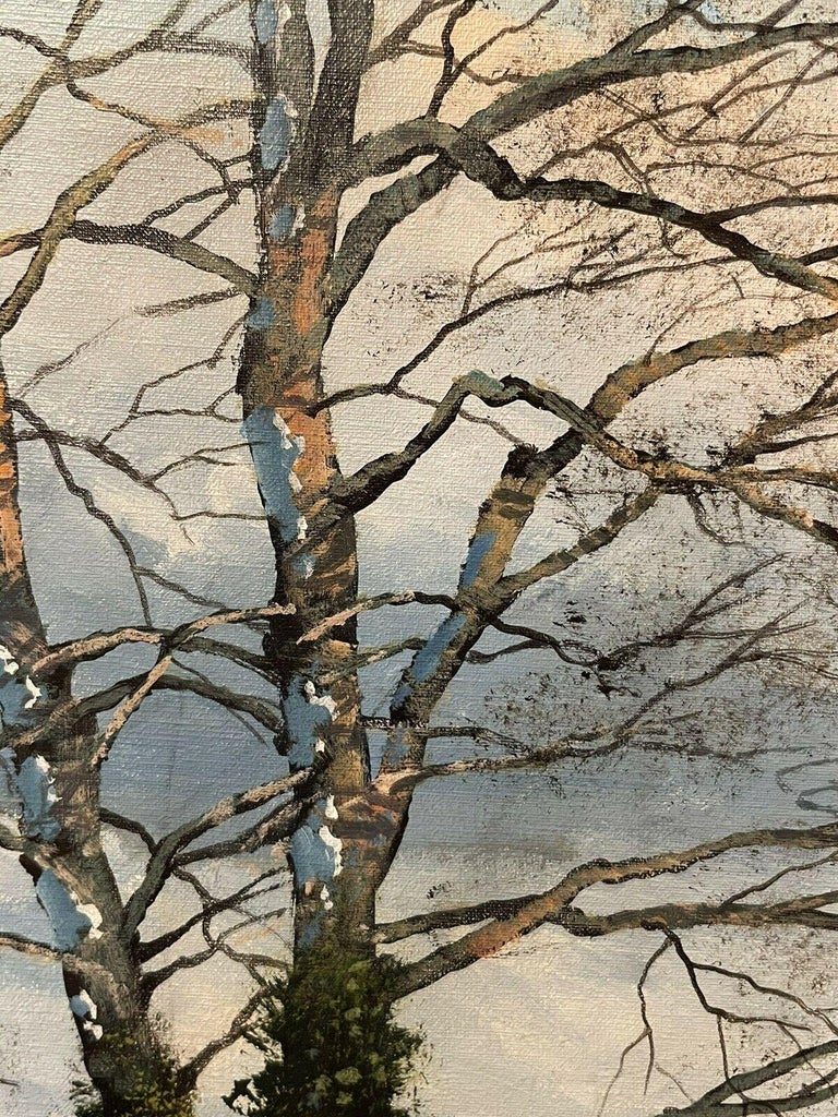 CLIVE MADGWICK (1934-2005) SIGNED OIL - PARTRIDGES IN WINTER SNOW LANDSCAPE For Sale 4