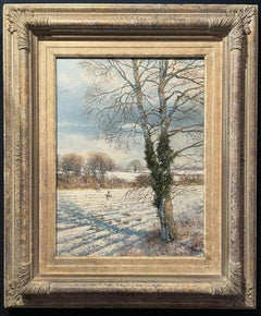 CLIVE MADGWICK (1934-2005) SIGNED OIL - PARTRIDGES IN WINTER SNOW LANDSCAPE