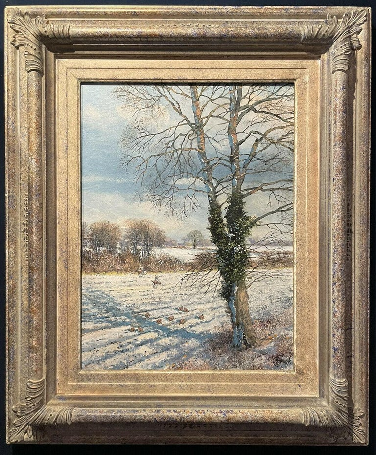Clive Madgwick Interior Painting - CLIVE MADGWICK (1934-2005) SIGNED OIL - PARTRIDGES IN WINTER SNOW LANDSCAPE
