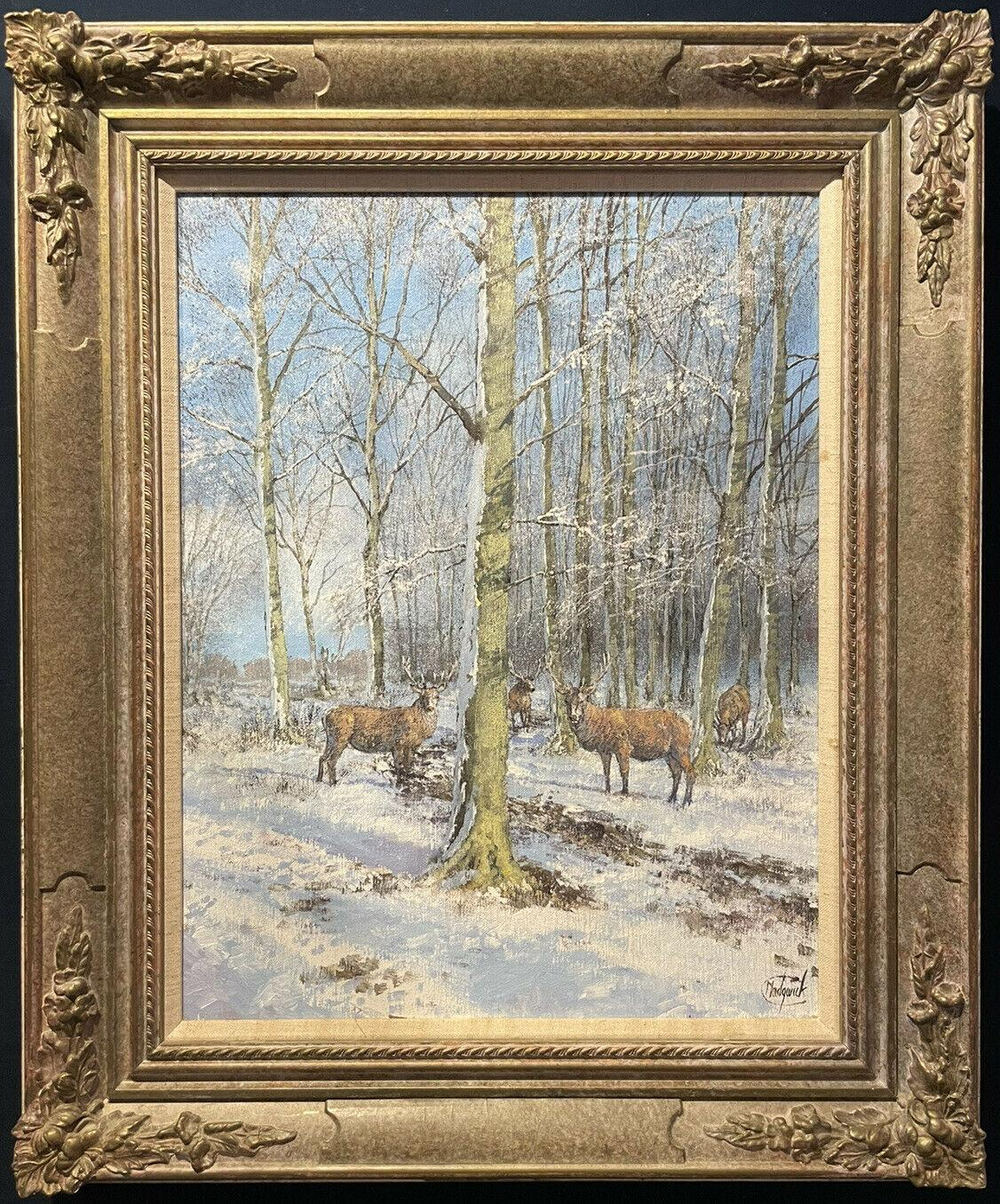 CLIVE MADGWICK (1934-2005) SIGNED OIL - STAGS IN WINTER WOODLAND LANDSCAPE
