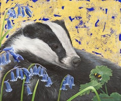 Badger and Bluebells- oil and gold leaf badger animal contemporary painting