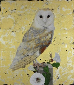 Barn Owl and Bindweed - oil and gold leaf barn owl animal contemporary painting