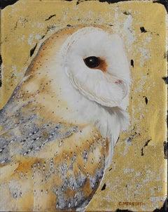 Barn Owl portrait - contemporary realistic animal bird wildlife oil painting