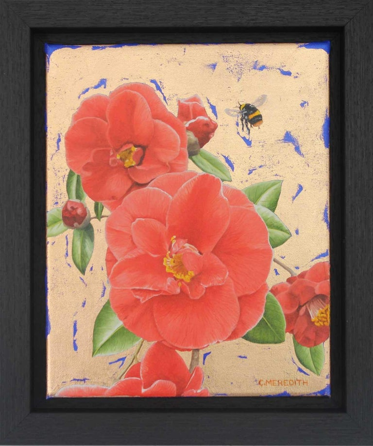 Camellias and Bumblebee - contemporary colourful flower insect gold oil painting - Painting by Clive Meredith
