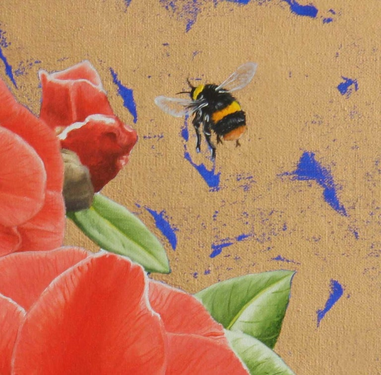 Camellias and Bumblebee - contemporary colourful flower insect gold oil painting - Contemporary Painting by Clive Meredith