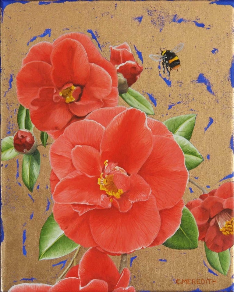 Clive Meredith Animal Painting - Camellias and Bumblebee - contemporary colourful flower insect gold oil painting