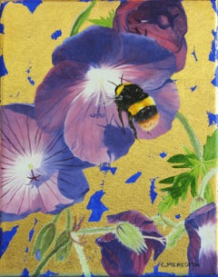 Final Approach - oil and gold leaf bumblebee contemporary painting