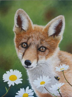 Fox Cub and Daisies - oil fox animal floral contemporary painting