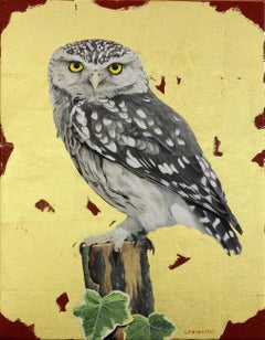 Little Owl -contemporary red and gold hyper-realistic owl painting oil on canvas