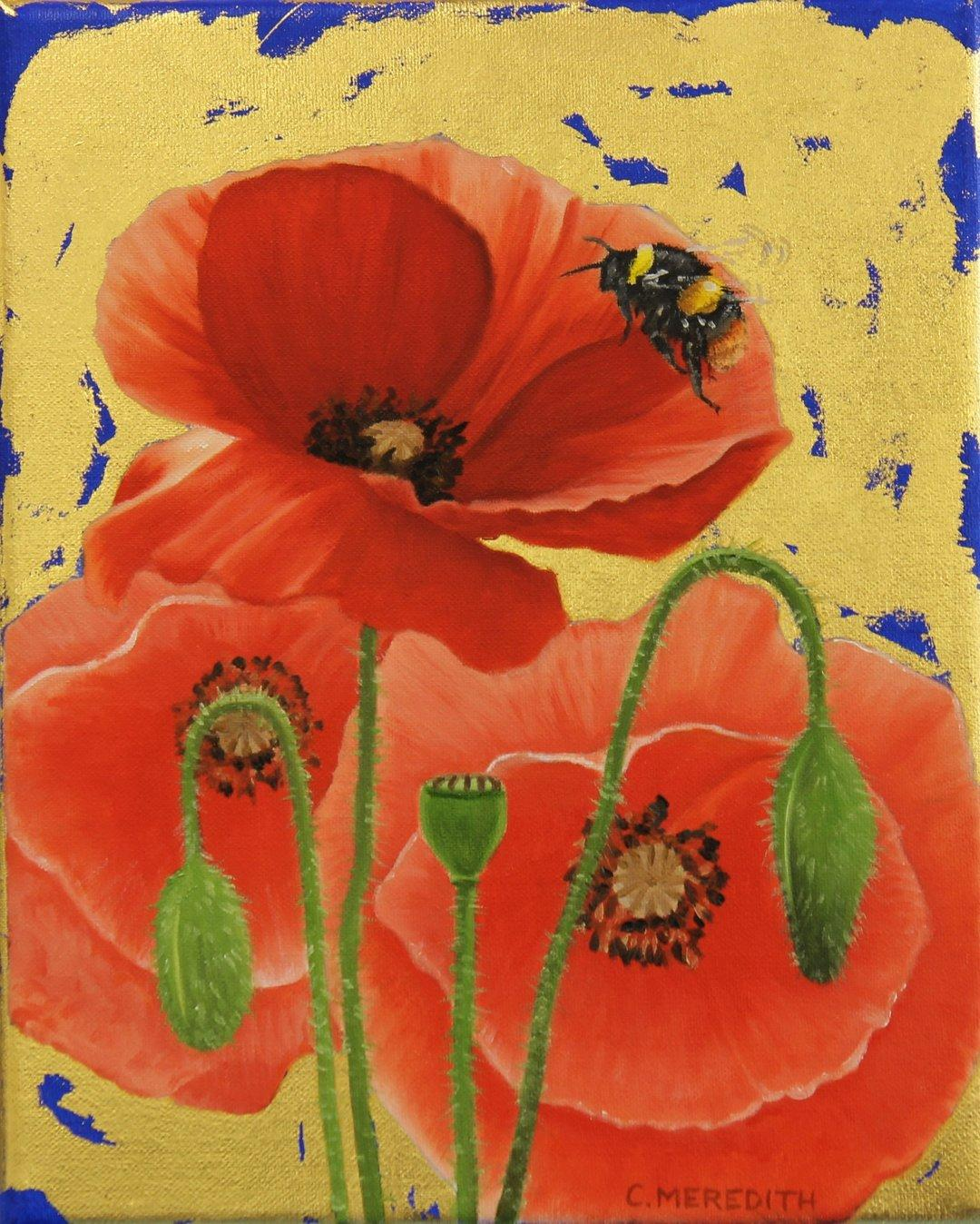 Poppies and Early Bumblebee - oil and gold leaf poppies contemporary painting