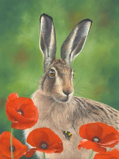 Poppyfield Hare - oil hare animal floral contemporary painting