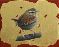 Wren - contemporary illustrative animal bird gold oil painting framed