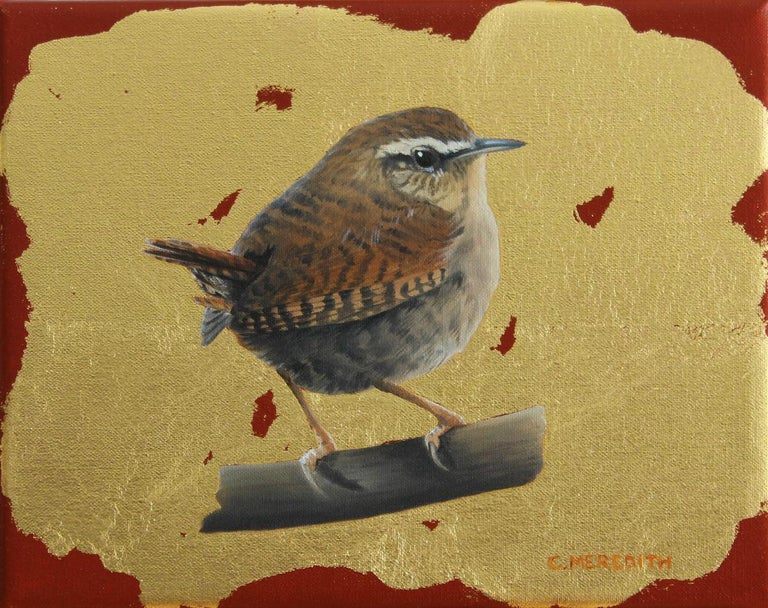 Clive Meredith Animal Painting - Wren - contemporary illustrative animal bird gold oil painting framed