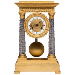Clock Portico Charles X Crystal Baccarat and Golden Bronze