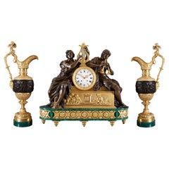 Clock Set 19th Century Louis Philippe Charles X Period by Leroy À Paris