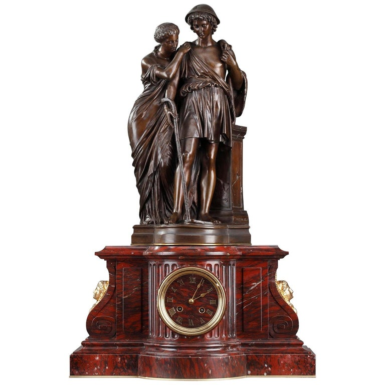 Clock Shepherds of Arcadia by Aizelin and Barbedienne For Sale