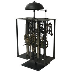 Clock Works from 19th Century Long Case Clock Mounted on Stand as Sculpture