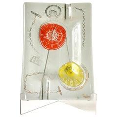Clocks 'Watches' Illustrated Higgins Glass Ashtray