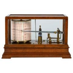 Clockwork Barograph in a Glazed Oak Case