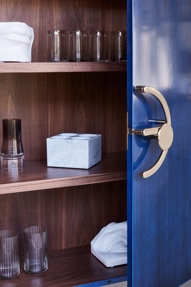 Clockwork, Blue Sideboard in Shellac, with Brass Finishing's and Walnut Interior In New Condition For Sale In Milan, IT