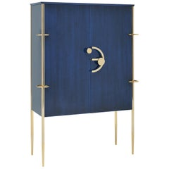 Clockwork, Blue Sideboard in Shellac, with Brass Finishing's and Walnut Interior