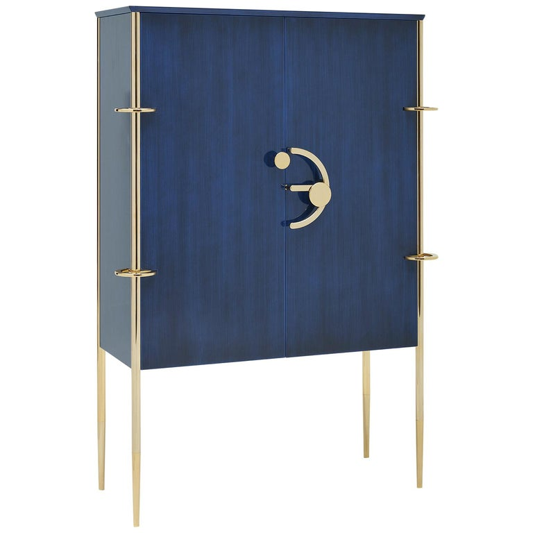 Clockwork, Blue Sideboard in Shellac, with Brass Finishing's and Walnut Interior For Sale