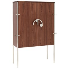 Clockwork, Sideboard in Walnut Wood, with Nickel Finishes and Leather Interior