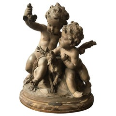 Clodian Terracotta Sculpture of Cherubs and Dog