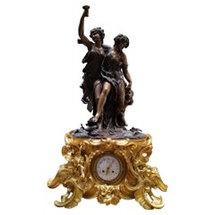 Clodion Signed Very Large and Heavy Bronze Clock, the Bronze is Gilded 19th Cent