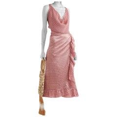 Cloe Cassandro Dusty Pink Print Silk Wrap Skirt and Top L