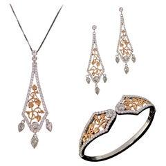 "Clogau Diamonds ""Debutante"" White Rose Gold Cuff Earrings Necklace Jewellery Set"