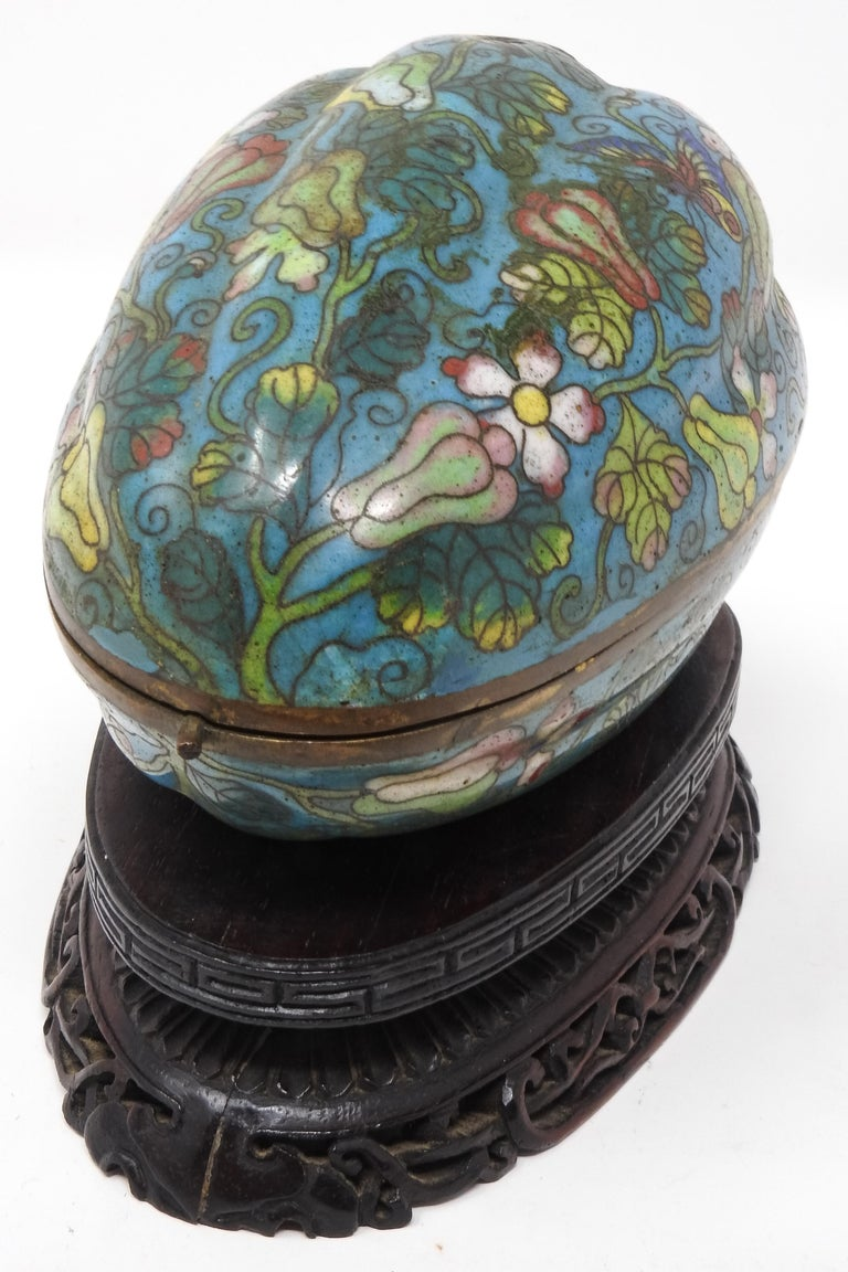 Chinese Cloisonné Artichoke Decorative Trinket Box For Sale
