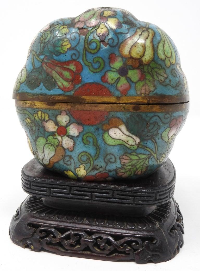 20th Century Cloisonné Artichoke Decorative Trinket Box For Sale
