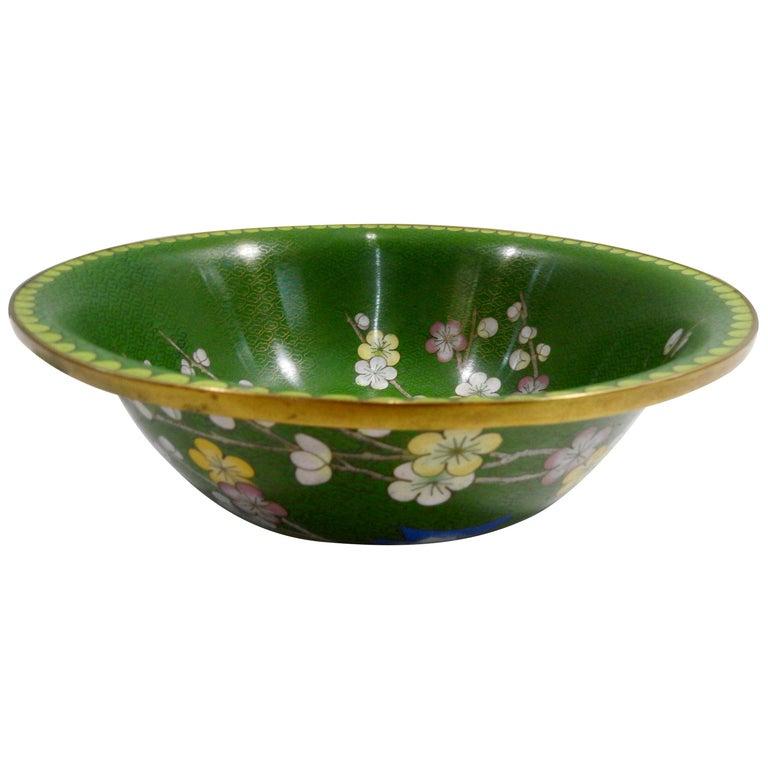 Cloisonné Bowl with Floral Details Midcentury For Sale
