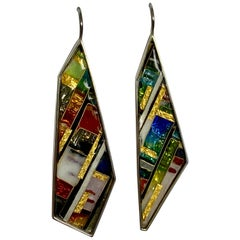 Cloisonné Earrings in Sterling Silver with 24 Karat Gold