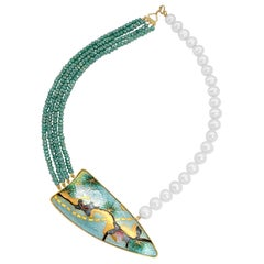 Cloisonné Enamel  22 and 24 Karat Yellow Gold Necklace