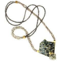 Cloisonné Enamel 24, 22 and 18 Karat Yellow Gold Pyrite Pendant Necklace