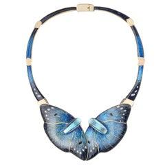 Cloisonne Enamel 24 and 22 Karat Yellow Gold with Blue Quartz Necklace