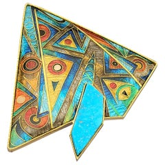 Cloisonne Enamel 24 and 22 Karat Yellow Gold with Turquoise Brooch