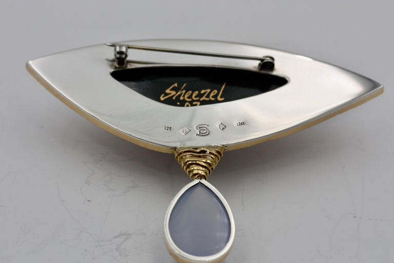 Pear Cut Cloisonné Enamel, 24, 22 and 18 Karat Gold, Pear Shaped Chalcedony, Brooch For Sale