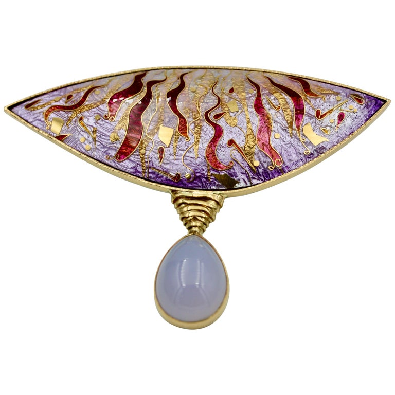Cloisonné Enamel, 24, 22 and 18 Karat Gold, Pear Shaped Chalcedony, Brooch For Sale