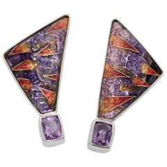 Cloisonné Enamel and Amethyst Earrings in set Sterling Silver