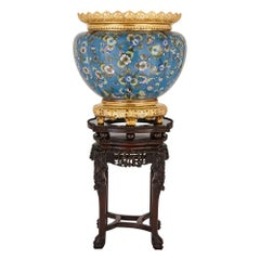 Cloisonné Enamel and Gilt Bronze Jardinière on Ebonized Teak Stand