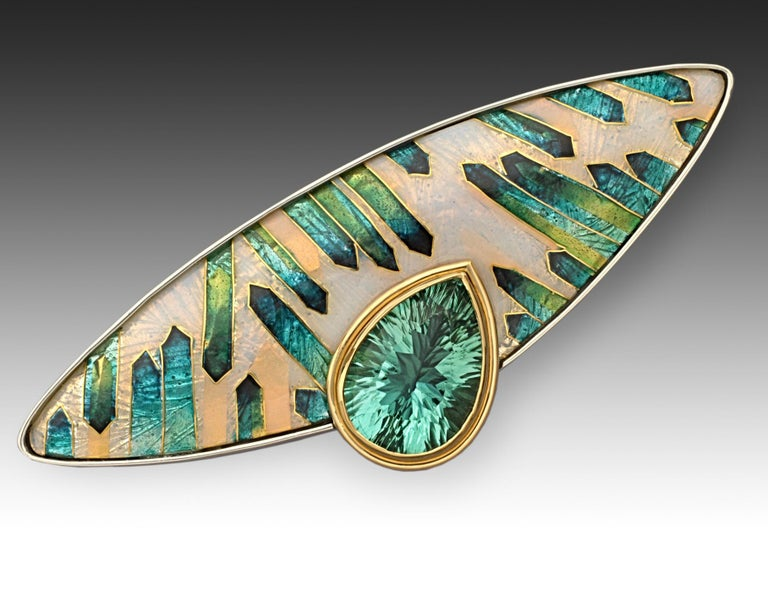 Contemporary Cloisonne Enamel Appetite in 24 Karat Yellow Gold Sterling Silver Brooch For Sale