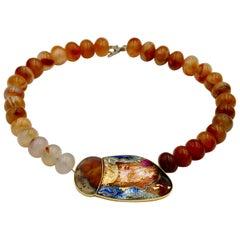 Cloisonné Enamel Choker Necklace 24-22 Karat Gold St. Silver Agate, Agate Beads