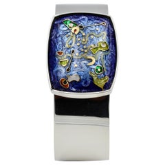 Cloisonné Enamel Cuff in Sterling Silver with 24k Gold Inlay